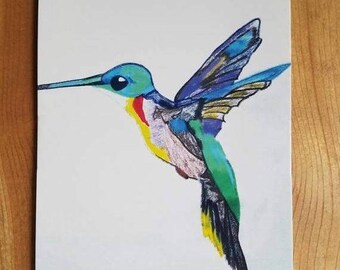 SALE Beautiful Colorful Hummingbird JUMBO Postcard Flying Humming Bird Colored Pencil Drawing Sketch Art By Scott D Van Osdol 5.5x8.5 Wild B
