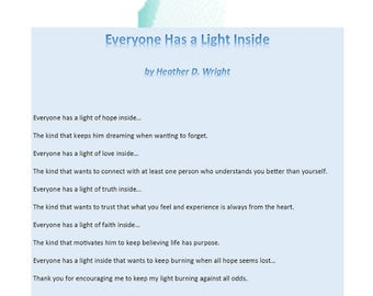 Everyone Has a Light Inside - Printable Poetry Instant Download