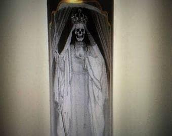 Santa Muerte Devotional Glass Black Candle Skull Day of the Dead