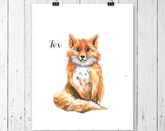 Fox Art Print | Woodland Animal | Nursery Art | Watercolor | Gallery Wall | Instant Download | Digital Print | JPEG | 11x14 | 100