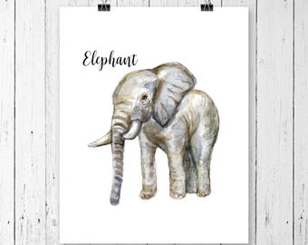 Elephant Art Print | Safari Animal | Nursery Art | Watercolor | Gallery Wall | Instant Download | Digital Print | JPEG | 11x14 | 097