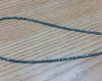 "Blue Diamond Faceted Bracelet , Diamond Beads AAA Quality, Good Shining , Length 7"" with gold clasp"
