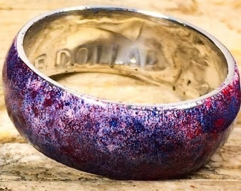 Cosmic Nebula Silver Coin Ring-Handcrafted US Size 10.5