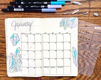 """Monthly Spread Stencil - Bullet Point Journal Stencil, fits Leuchtturm and Moleskine 5"""" by 7"""""""