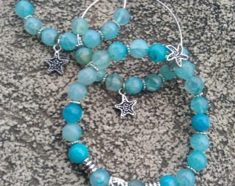 "Hoop earrings energised ""Anchor and luck"" and Bracelet set agate faceted blue cyan, sea stars"