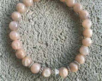 Bracelet énergétisé Bien être en Pierre de soleil véritable, perle celte plaqué argent