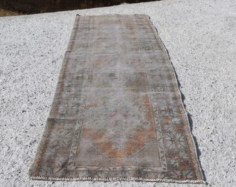 Pale Color Runner Area Rug, 3.1 x 9.2 Vintage Turkish Rug, Free Shipping, Nomadic Rug, Floor Rug, Handknotted Wool Rug, Bohemian Rug No 1216