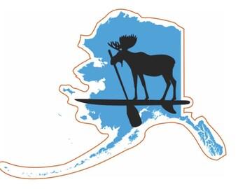 Alaskan Moose on SUP Sticker