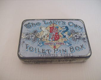 The Lady's Own Toilet Pin Box Metal Victorian