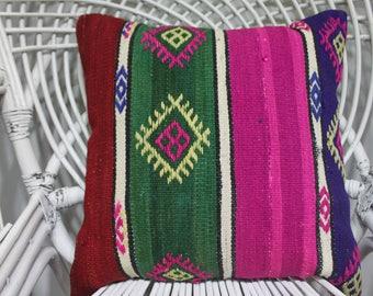 pink and green kilim woven bench 18x18 hand woven kilim throw pillows pillow cover kilim pink kilim cushion kilim crochet cushion 2128