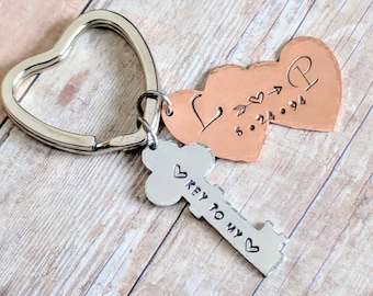 Anniversary keychain, Love keychain, Key to my heart, Key chain, Keychain gift ideas, Gift for girlfriend, keychain gift, Free Shipping