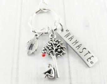 Yoga Keychain - Best Friend Gift Ideas - Meditation Gifts - Namaste Keychain - Namaste Jewellery - Tree Keychain - Gifts under 20