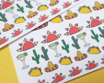 Mexican Themed Nail Decals - Cactus, Margharita, Sombrero, Taco, Sunset