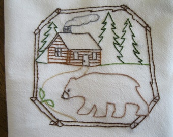 New Handmade Embroidered Bear/Cabin Flour Sack Kitchen Dishcoth Towel
