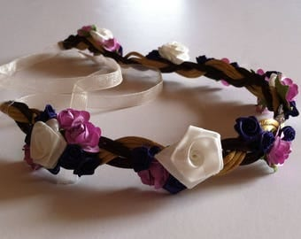 White, Purple, and Violet Rose with Gold and Brown Chord Flower Crown