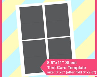 "Instant Download, tent card Template, size 3.5""x5"" PSD, PNG and SVG Formats,  8.5x11"" sheet,  Printable 126"