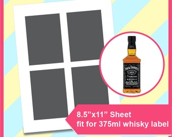 """Instant Download, whisky label template 375ml,  PSD, PNG and SVG, Dxf Formats,  8.5x11"""" sheet,  Printable 215"""