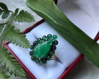 14K Vintage Emerald Silver Ring size 6.25