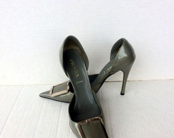 vintage shoe,PRADA silver patent leather high heel pumps sz EU 35.5 US 5