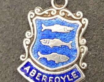 Silver Bracelet Charm Enamel Aberfoyle Vintage Pendant Fob Scotland Souvenir