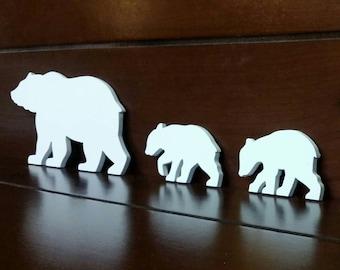 Bear Wall Art - Cut-Out Bear Wall Art - Bear Woodwork - Wooden Bear Silhouette - Animal Art - Bear Family Art - White Bear Family
