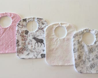 Girls Feeding bibs 4 Pack/ Bib pack / mermaids / woodland