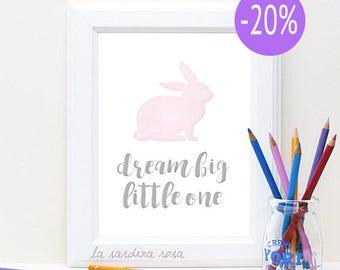 SALE Baby girl art, Pink nursery decor, Dream Big Little One, Baby Girl Room Prints, baby girl nursery wall art, Nursery Print #0028P