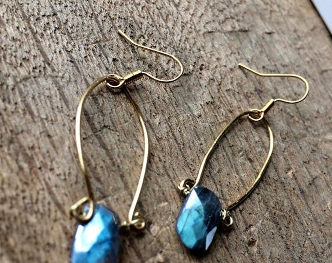 CLEARANCE SALE Blue Labradorite Hammered Brass Geometric Drops