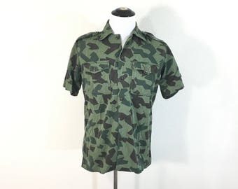 vintage bulgaria army camouflage short sleeve shirt milivary