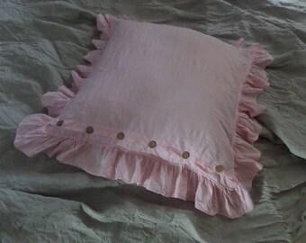 Ruffle pillowcase with buttons  pillowcase ruffled bedding linen pillow case organic linen bedding eco Pillow Sham Linen Sham with Ruffles