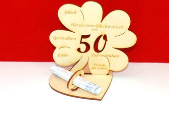 Cloverleaf for 50 or 55 birthdays or wedding day with congratulations and bank note holder