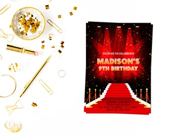 Red carpet birthday invitation,Hollywood Invitation,Movie Star Invite,Red Carpet Invite,Red Carpet