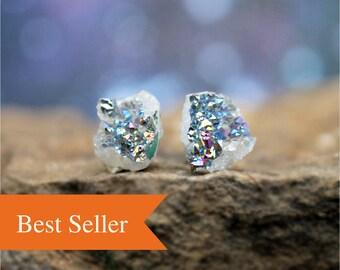 Druzy Earrings, Minimal Earrings, 14K Gold, Minimalist Earrings, Dainty Earrings, Delicate Earrings, Gift for Friend, Post Earrings, Drusy