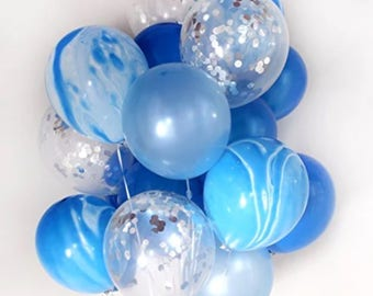 Confetti Balloons • Marble Balloons • Balloon Bouquet • First Birthday • Bridal Shower • Baby Shower • Blue and Silver Decor