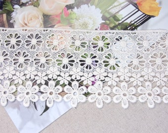 "Cotton Lace Fabric Embroidered Flowers Cotton Lacework Ivory 9.5cm(3.7"") Wide 1Yd #mj"