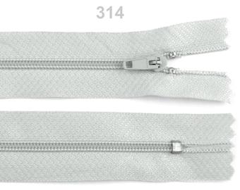 Nylon coil zipper 3 mm closed end pinlock - Length 40 cm / 314 Puritan grey