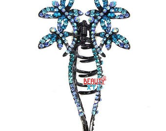 Blue Rhinestone Crystal butterfly metal hair Clip Hair Claw Hairpin