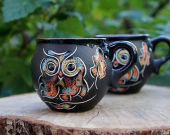 Mothers gift for christmas Ceramic mug Owl Set of 2 stoneware mug Coffee mug Pottery mug Tea mug Wife gift Owl gifts for women Clay mug