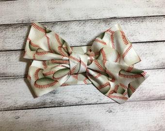 TIED, Baseball Headwrap, Infant Headband, Big Bow Headwrap, Headband, Toddler Headwrap, Baby Girl Headwrap, Boho, Baseballs, Summer Headwrap