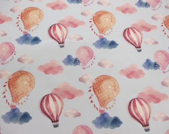 Balloons & Clouds Printed 100% Cotton Fabric. 150cm wide