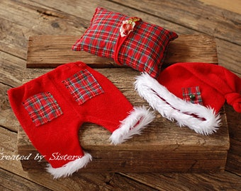 Christmas Set for boy and girl,newborn props, Christmas Prop Set, Baby Photo Prop. Flower Headband, Baby Christmas Headband ,RTS.