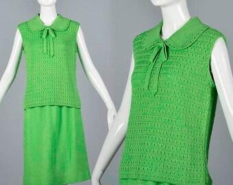 SALE Medium Knit Skirt Set Vintage 1960s 60s Green Skirt Matching Top Sweater Cotton Knit Two Piece Separates Summer