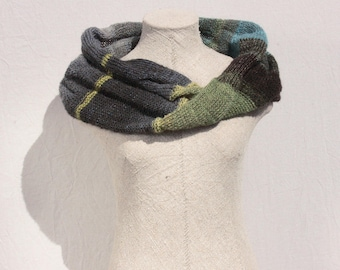 Green mohair knit infinity scarf | machine knit | knit in Latvia | soft warm scarf | mohair knit scarf | winter gift | Forest green