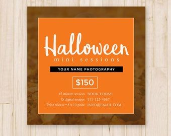 Halloween Mini Sessions Template - Halloween Minis, Photography Mini Session, Marketing Board - Photoshop Template PSD *INSTANT DOWNLOAD*