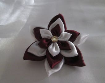 Satin Burgundy and white brooch
