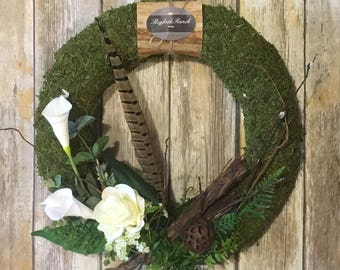 Country style wreath, all season wreath, rustic wreath