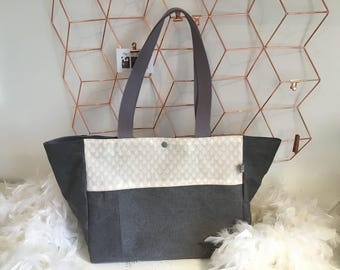 Tote bag in linen and canvas coated, grey and nude