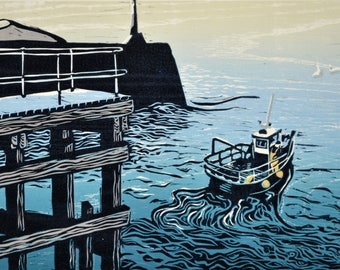 Original lino and woodcut print of fishing boat