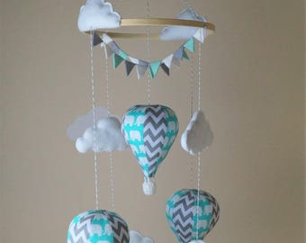 Hot air balloon baby mobile with bunting mint elephant grey chevron READY TO SHIP