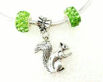 Squirrel Dangle Charm Czech Crystal Beads Set Fit Pandora European Bracelets